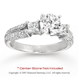 14k White Gold Side Stone 0.50 Carat Diamond Engagement Ring