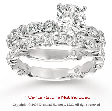 14k White Gold Side Stone 2/3 Carat Diamond Bridal Set