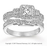 14k White Gold Prong 1.10 Carat Diamond Bridal Set