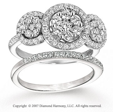 14k White Gold Prong 1 1/5 Carat Diamond Bridal Set