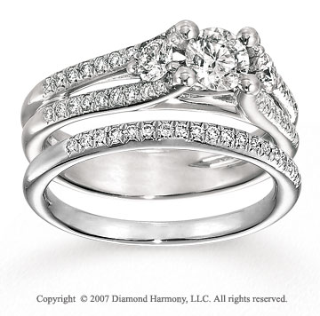 14k White Gold Stylish 1 1/5 Carat Diamond Bridal Set