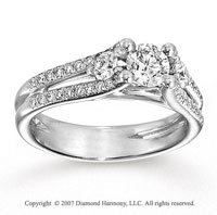 14k White Gold Round 2/3 Carat Diamond Engagement Ring