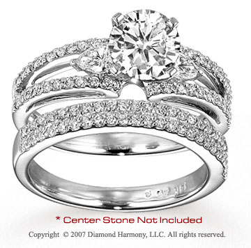 14k White Gold Classy 3/4 Carat Diamond Bridal Set