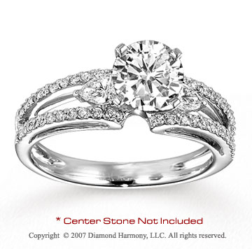 14k White Gold Classy 1/2 Carat Diamond Side Stone Ring