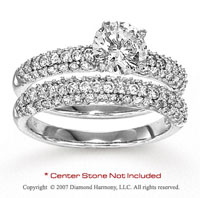 14k White Gold Round 1 1/6 Carat Diamond Bridal Set