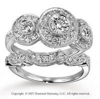 14k White Gold Classic 1/2 Carat Diamond Bridal Set