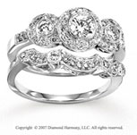 14k White Gold Fine Round 4/5 Carat Diamond Bridal Set