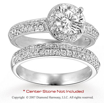 14k White Gold Round 0.60 Carat Diamond Bridal Set
