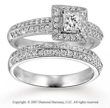 14k White Gold Elegant 0.90 Carat Diamond Bridal Set
