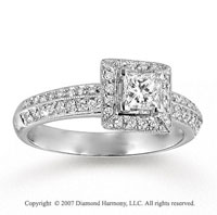 14k White Gold Princess 3/4 Carat Diamond Engagement Ring