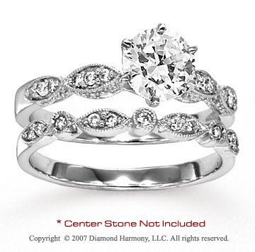 14k White Gold Classy Round 1/5 Carat Diamond Bridal Set