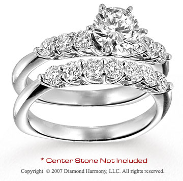 14k White Gold Fine Round 0.95 Carat Diamond Bridal Set