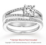 14k White Gold Round Prong 1/3 Carat Diamond Bridal Set