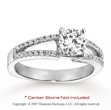 14k White Gold Round 1/5 Carat Diamond Side Stone Ring