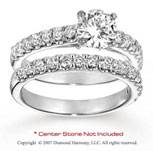 14k White Gold Round 0.95 Carat Diamond Bridal Set