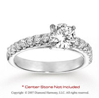 14k White Gold Fine 1/2 Carat Diamond Side Stone Ring