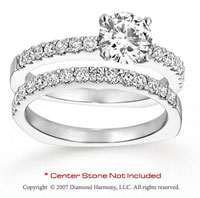 14k White Gold Fine Round 3/4 Carat Diamond Bridal Set
