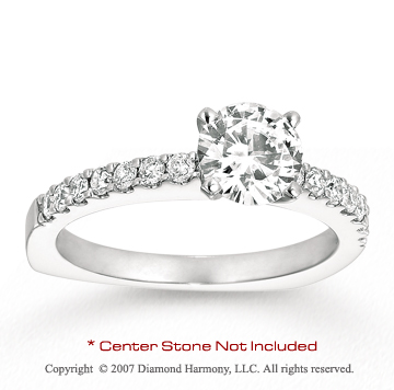 14k White Gold Prong 0.35 Carat Diamond Side Stone Ring