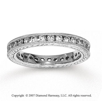 14k White Gold Channel 4/5 Carat Diamond Side Stone Ring