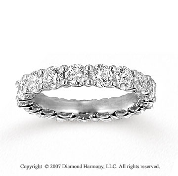 14k White Gold Round 3 1/4 Carat Diamond Side Stone Ring
