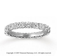 14k White Gold Round 2.00 Carat Diamond Anniversary Band