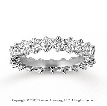14k White Gold Princess 3 1/2 Carat Diamond Eternity Ring
