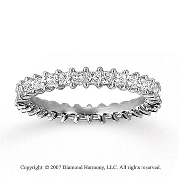 14k White Gold Princess 1 1/2 Carat Diamond Eternity Ring