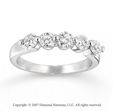 14k White Gold Prong 1.00 Carat Diamond Five Stone Ring