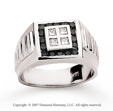 14k White Gold Channel 1/4 Carat Black Diamond Ring