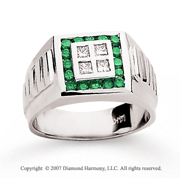 14k White Gold Channel 1/4 Carat Green Diamond Ring