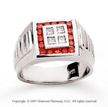 14k White Gold Channel 0.30 Carat Red Diamond Ring
