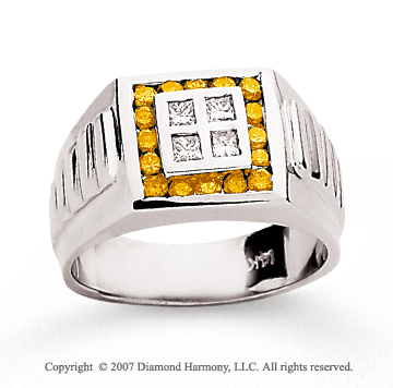 14k White Gold Channel 1/4 Carat Yellow Diamond Ring