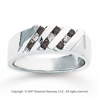 14k White Gold Round Channel 1/3 Carat Black Diamond Ring
