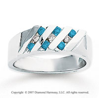 14k White Gold Round Channel 1/3 Carat Blue Diamond Ring