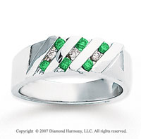 14k White Gold Round Channel 1/3 Carat Green Diamond Ring