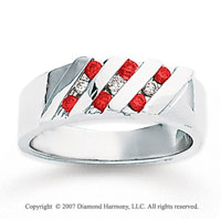 14k White Gold Round Channel 1/3 Carat Red Diamond Ring