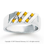 14k White Gold Round Channel 1/3 Carat Yellow Diamond Ring