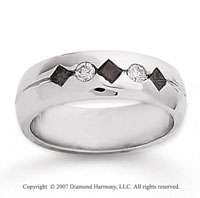 14k White Gold Round Channel 0.40 Carat Black Diamond Ring