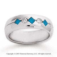 14k White Gold Round Channel 0.40 Carat Blue Diamond Ring