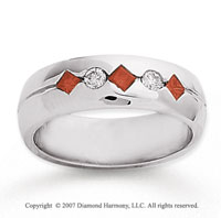 14k White Gold Round Channel 0.40 Carat Red Diamond Ring