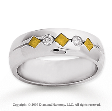 14k White Gold Round Channel 0.40 Carat Yellow Diamond Ring