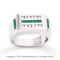 14k White Gold Fine Channel 1 1/4 Carat Green Diamond Ring
