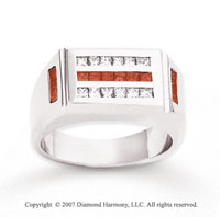 14k White Gold Fine Channel 1 1/4 Carat Red Diamond Ring