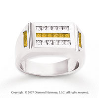 14k White Gold Fine Channel 1 1/4 Carat Yellow Diamond Ring