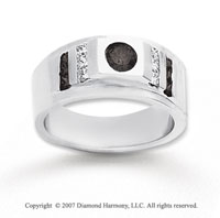 14k White Gold Princess Round 0.70 Carat Black Diamond Ring
