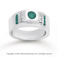14k White Gold Princess Round 0.70 Carat Green Diamond Ring