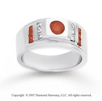 14k White Gold Princess Round 0.70 Carat Red Diamond Ring