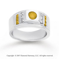 14k White Gold Princess Round 0.70 Carat Yellow Diamond Ring