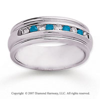 14k White Gold Channel 2/5 Carat Blue Diamond Ring