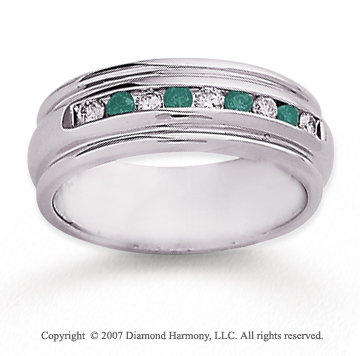 14k White Gold Channel 2/5 Carat Green Diamond Ring